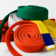 Coloured karate belts — Stock Photo #18972513