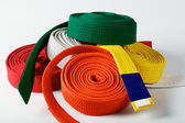 Coloured karate belts — Stock Photo