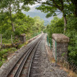 Stock Photo: Rack and pinion railway on snowdon