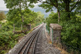 Rack and pinion railway on snowdon — Stock Photo