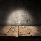 Prázdný stůl a zeď — Stock fotografie