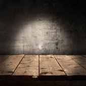 Tomma bord och vägg — Stockfoto