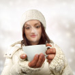 White young woman and cup — Stock Photo