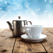 Stock Photo: Winter coffee on table