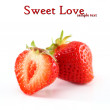 "Strawberry on a white background with the words ""sweet love"" — Stock Photo"