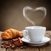 Coffee and croissant — Stok fotoğraf