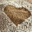 Heart in the flour in the bag - Lizenzfreies Foto