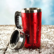 Cup on snow — Stock Photo