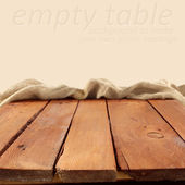 Wooden table and cream space — Stok fotoğraf