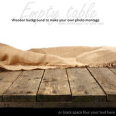 Natural wooden table and white background — Stock Photo