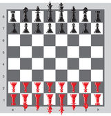 Chess pieces on a board — Vecteur