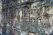 "Fragment of bas-relief ""sea battle"", Bayon, Angkor Thom, Siem Reap, Cambodia — Stock Photo"