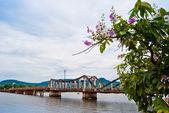 Alte brücke und blumen im vordergrund, kampot, kambodscha — Stockfoto