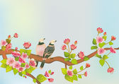 Sakura bird. postcard . — Stock Vector