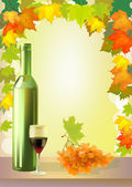 Ripe grapes, wine glass and bottle wine . — Stock Vector