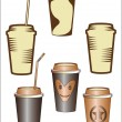 Paper cup with coffee - Stock Vector