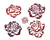 Rose . icons .tattoo . — Vector de stock