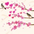 Stock Vector: Love birds, sakura, spring, Valentine's Day.