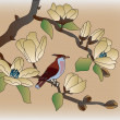 Stock Vector: Blooming magnoliin spring, bird sitting on branch.