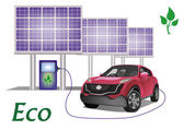 Ecology car , solar panels . — Vector de stock