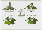 Real estate logo , eco home . — Vetor de Stock