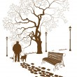 Stock Vector: Loneliness, walk in park mwith dog