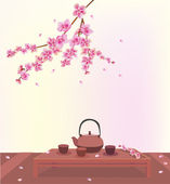 Sakura . Tea ceremony.Menu . coffee . — Vector de stock