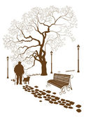 Loneliness, a walk in the park man with a dog — Stock Vector