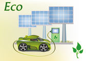 Ecology car , solar panels . — Stock Photo