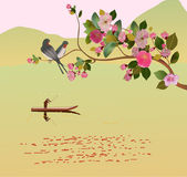 Sakura ,bird , spring , postcard . — Vector de stock