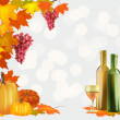 Autumn , postcard .Ripe grapes, wine glass and bottle wine . — Stock Vector