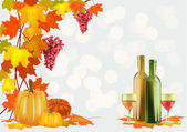 Autumn , postcard .Ripe grapes, wine glass and bottle wine . — Vector de stock