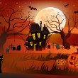 Halloween , postcard . — Stock Vector
