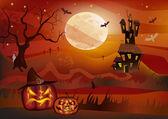 Halloween , postcard . — Stock Vector