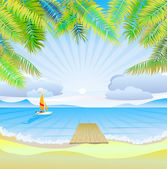 Travel . The sea, yachts, palm trees.Furlough . — Stock Vector