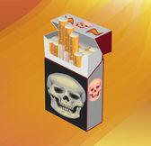 No Smoking cigarette , skull on cigarettes — Stock Vector