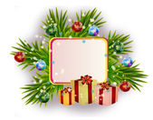 Christmas card with gift boxes — Stock Photo