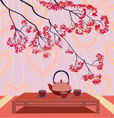 Valentine's Day .Tea ceremony . — Vetor de Stock