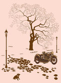 Loneliness, a dog and a motorcycle — Stock Vector