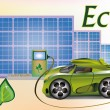 Banner Ecology car , solar panels . — Stock Vector