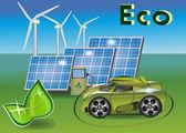 Auto ecologia di banner, pannelli solari .wind eletrostantsii — Vettoriale Stock