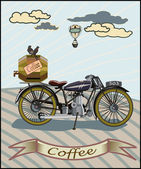 Retro banner with a cup of coffee and motorcycle — Stock Vector
