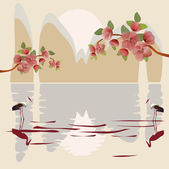 Sakura , landscape east — Stock Vector
