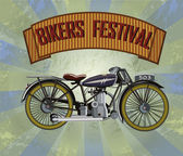 Bikers Festival retro , vector — Stock Vector