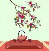 樱花。茶 ceremony.menu — 图库矢量图片
