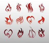 Ikony wektor ogień, ogień — Wektor stockowy