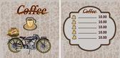 Banner retrò con una tazza di caffè e moto — Vettoriale Stock