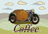 Retro banner with a barrel of coffee — Vector de stock