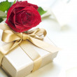 Romantic Gift and Rose — Stock Photo #10685574