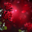 Valentine or Wedding Card. Roses and Hearts — Stock Photo #10688293